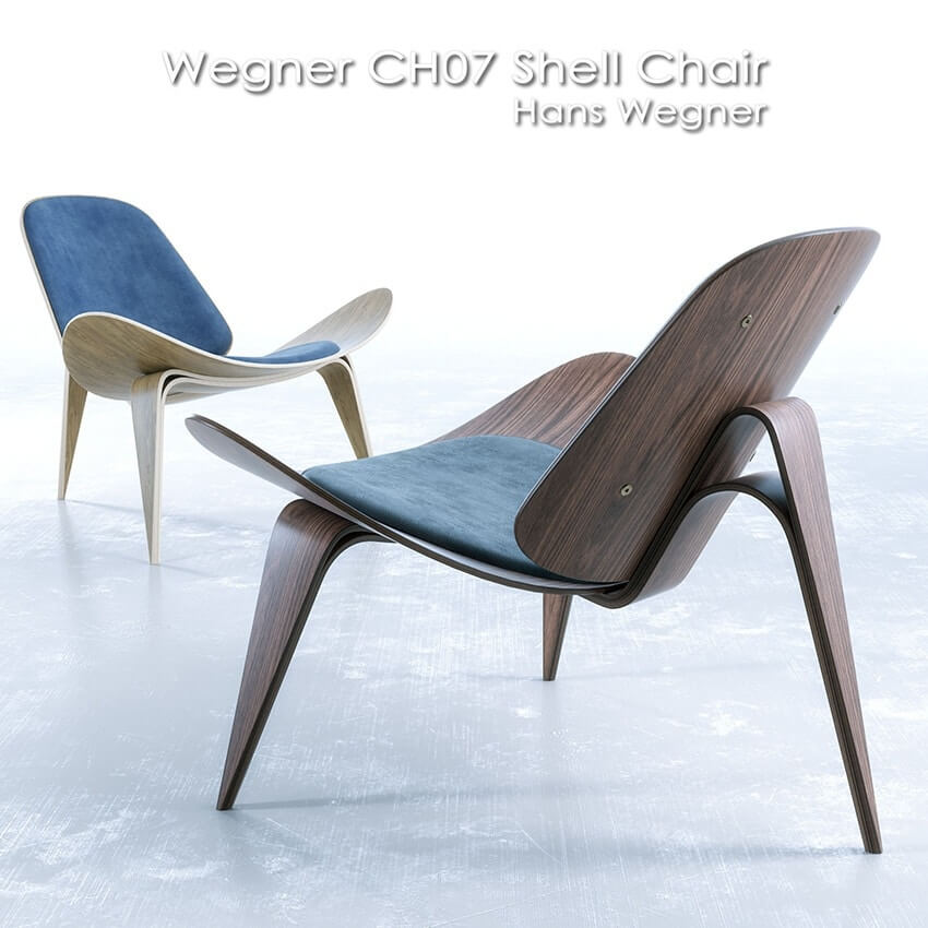 Wegner CH07 Shell Chair 3D model 1