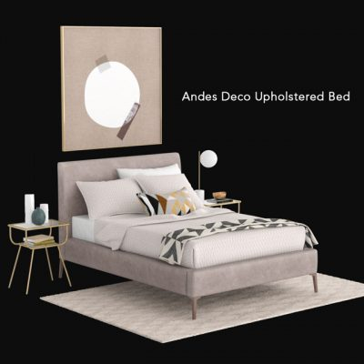West Elm Andes Deco Upholstered Bed 3D Model