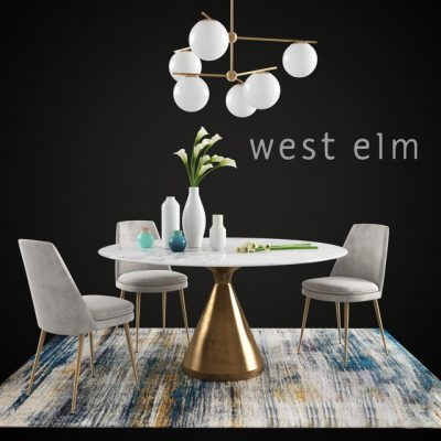 West Elm Dining Table & Chair Set-33 3D Model