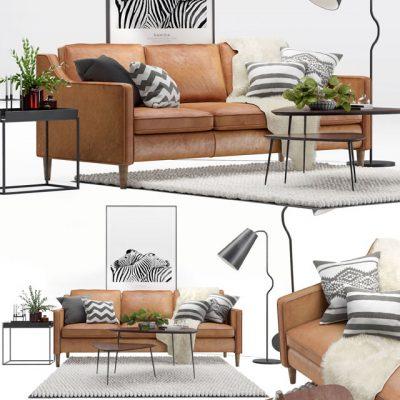 West Elm Hamilton Scandinavian Living Set-02 Sofa 3D Model
