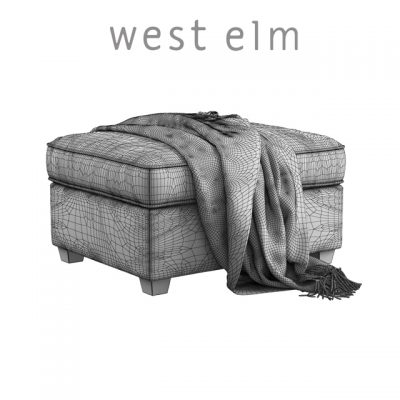 West Elm Henry Ottoman 3D Model 3