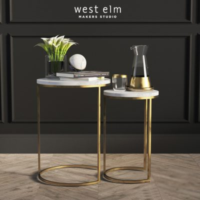 West Elm Round Nesting Side Tables 3D Model