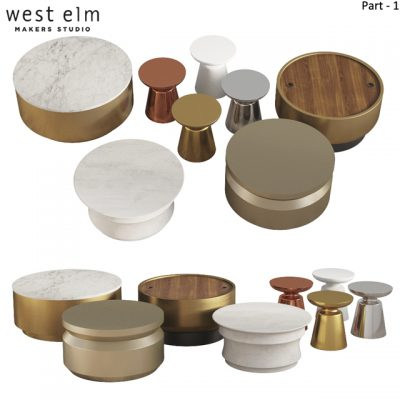 West Elm Table Set-01 3D Model