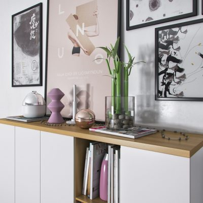 White Wood Decor Set 3D Model 2