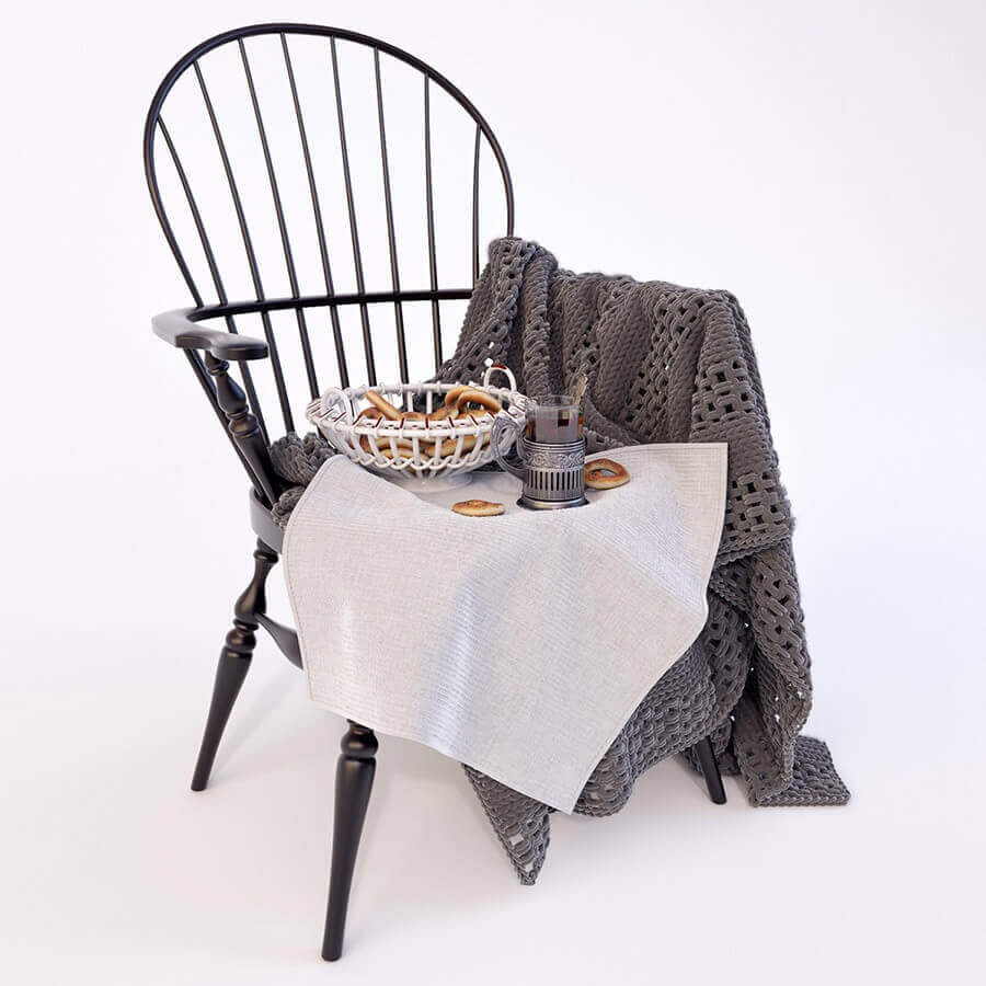 Windson chair with plaid 3D model