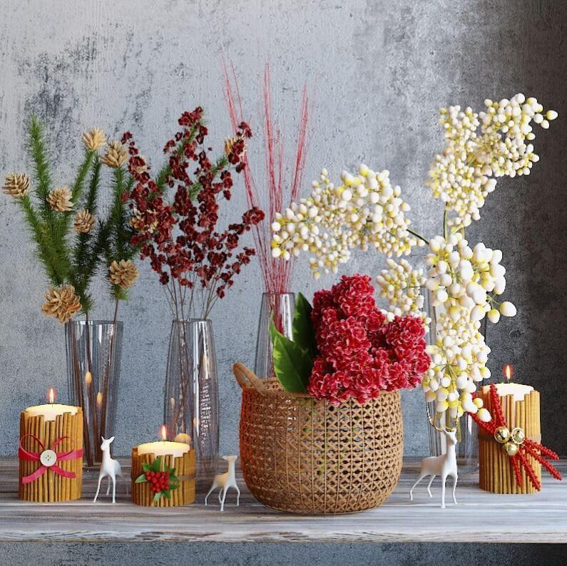 Winter flowers set 1