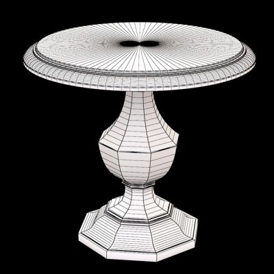 Wood Round Accent Table 3D Model