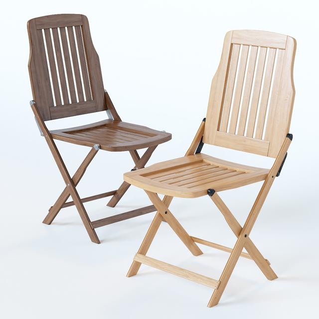 Wooden Folding Chair 3D Model 2