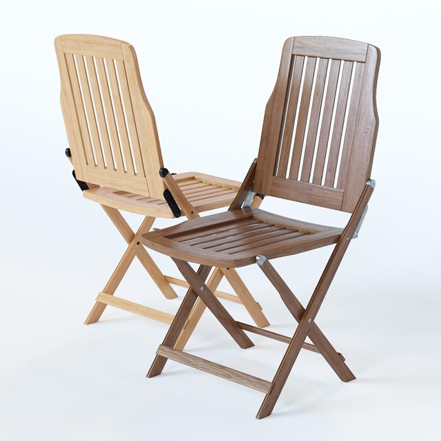 Wooden Folding Chair 3D Model 3