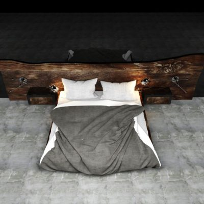 Wooden Headboard Bed 3D Model