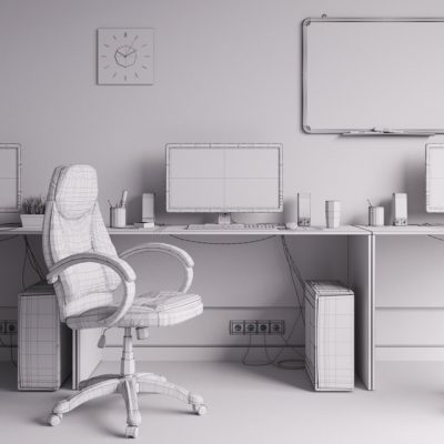 Workplace 2 - Office Funiture 3D Model 3