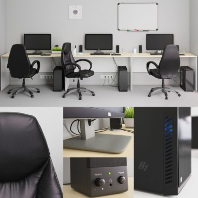 Workplace 2 - Office Funiture 3D Model