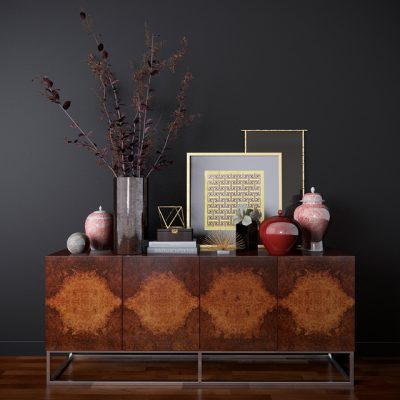 Wythe Burled Wood Double Console 3D Model