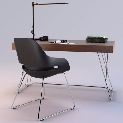 Zanotta Maestrale Desk & Eva Chair 3D Model