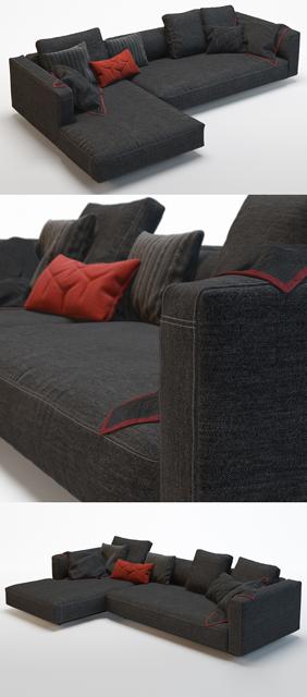 Zanotta Pianoalto Black Sofa 3D Model 2