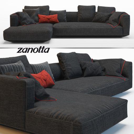 Zanotta Pianoalto Black Sofa 3D Model