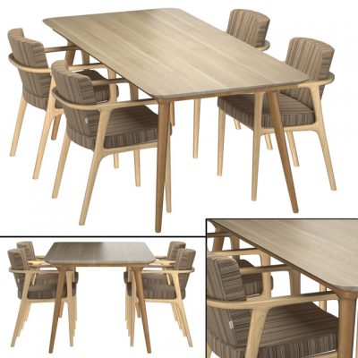 Zio Dining Table & Chair 3D Model