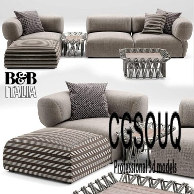 Butterfly BT007 Sofa B&B Italia 3D model 02