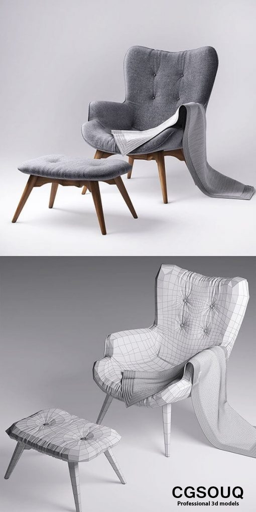 jysk EJERSLEV Armchair with pouf 3D model (1)