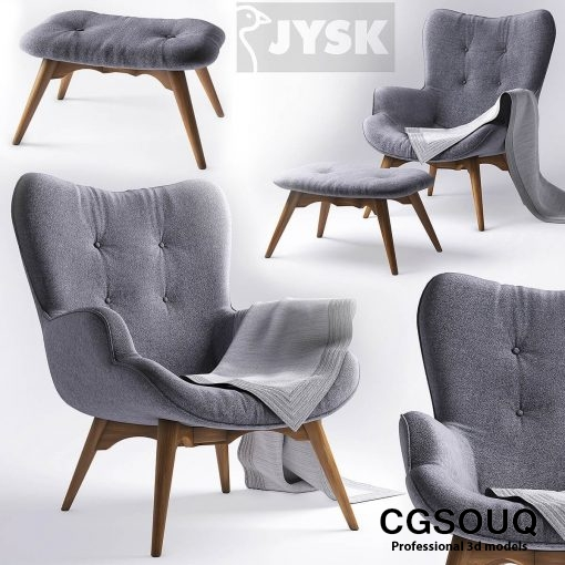 jysk EJERSLEV Armchair with pouf 3D model (2)