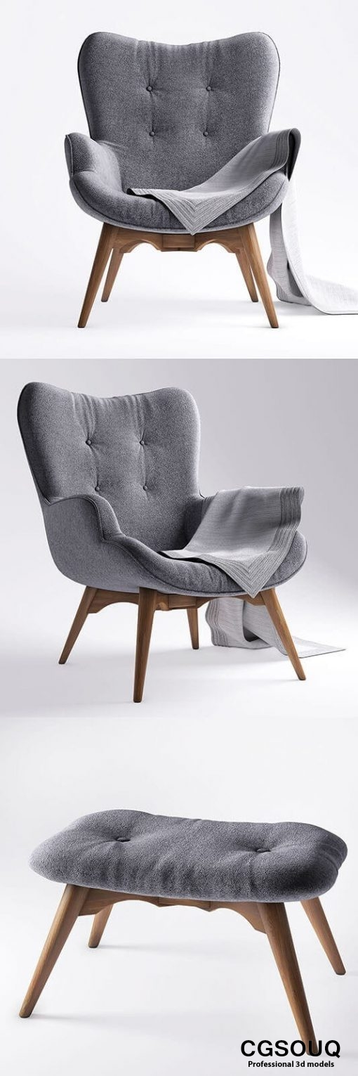 jysk EJERSLEV Armchair with pouf 3D model (3)