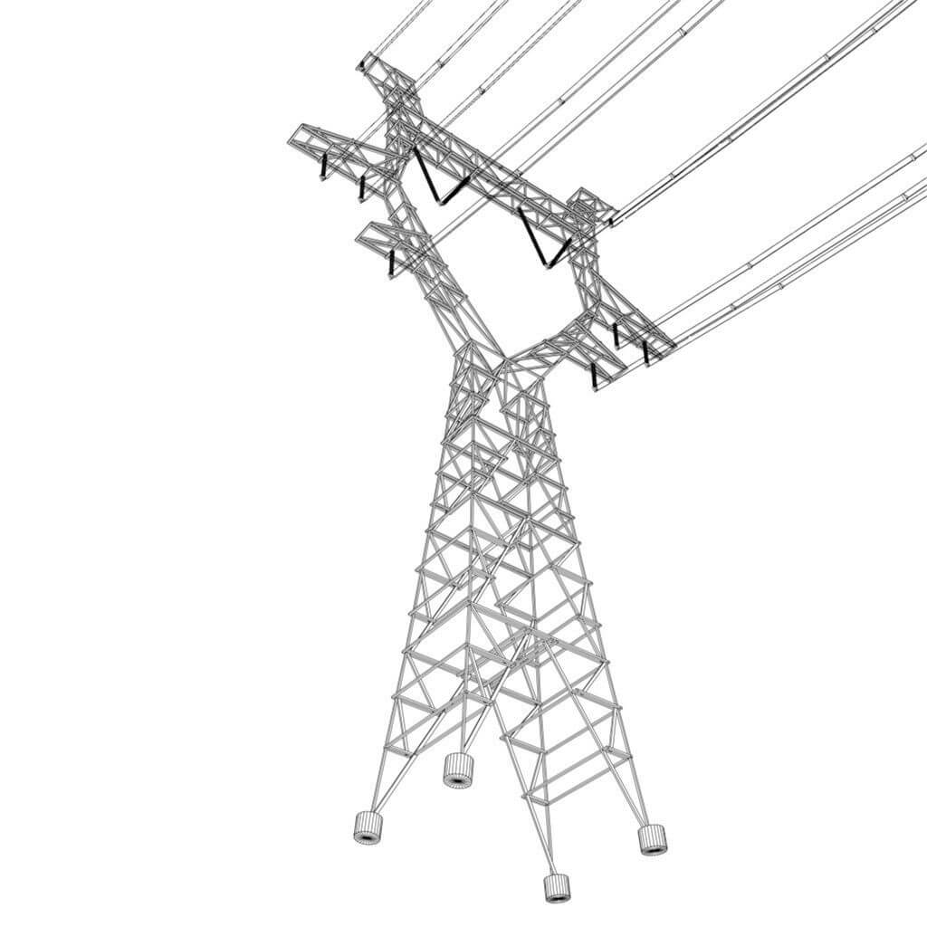 modular powerlines 3d model low poly2