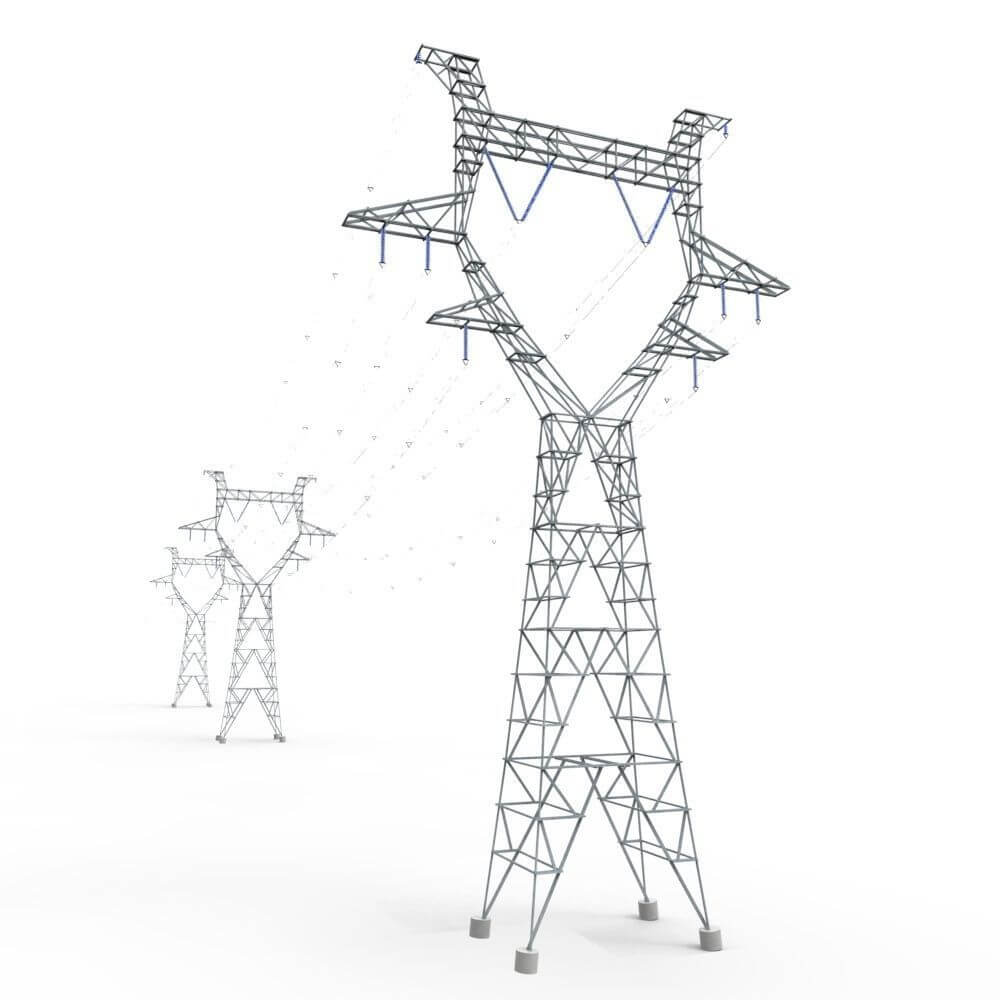 modular powerlines 3d model low poly3