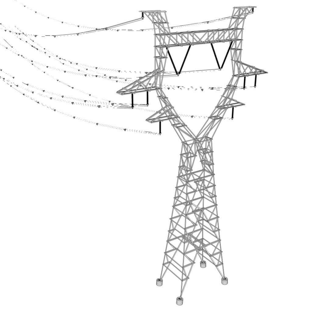 modular powerlines 3d model low poly4