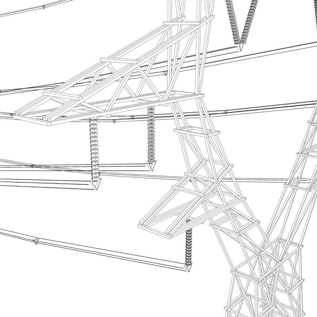 modular powerlines 3d model low poly5