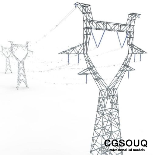 modular powerlines 3d model low poly