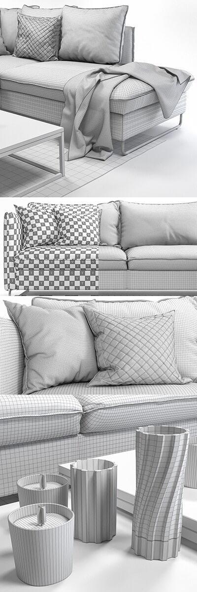 Pohjanmaan Flippep Sofa 3D Model 3