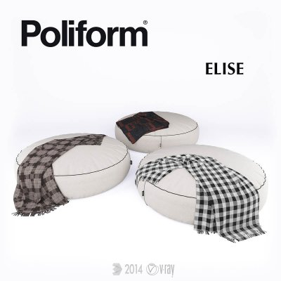 Poof Poliform Elise Pouf 3D model 02