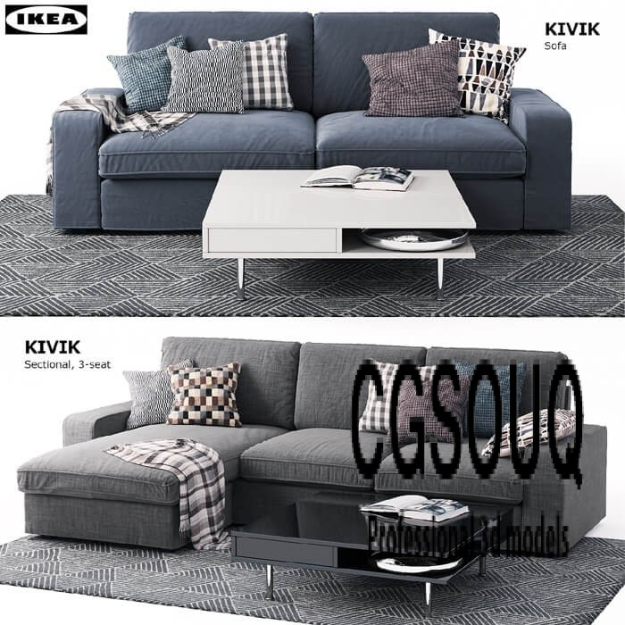 ikea kivik sofa 3d model for download. Black Bedroom Furniture Sets. Home Design Ideas