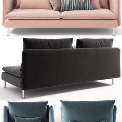 Sofas, Chairs, Couch, Ottoman Ikea SODERHAMN 3D Model