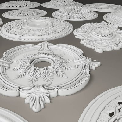 Stucco collection ceiling rosette 3D model