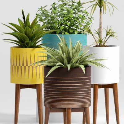 west elm mid century planter 3d model (1)
