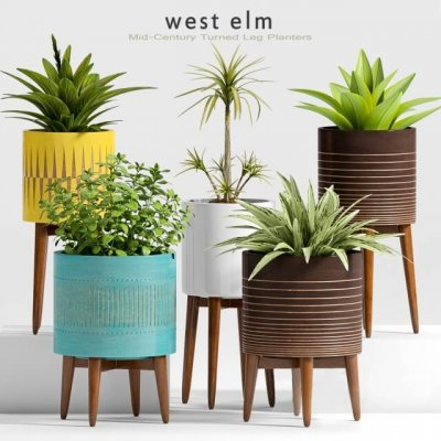 west elm mid century planter 3d model (3)